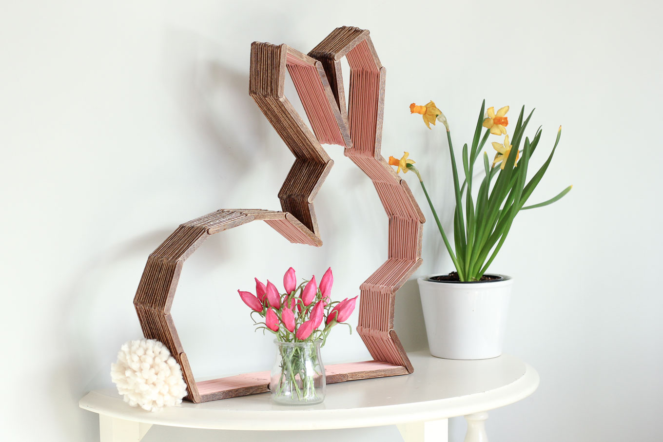 Modern Bunny Decor Made From Popsicle Sticks