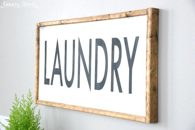 Wood Framed Laundry Sign