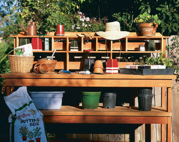Potting Bench with Plenty of Room on Top