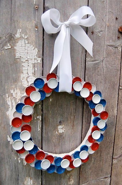 4th of July Bottle Cap Wreath
