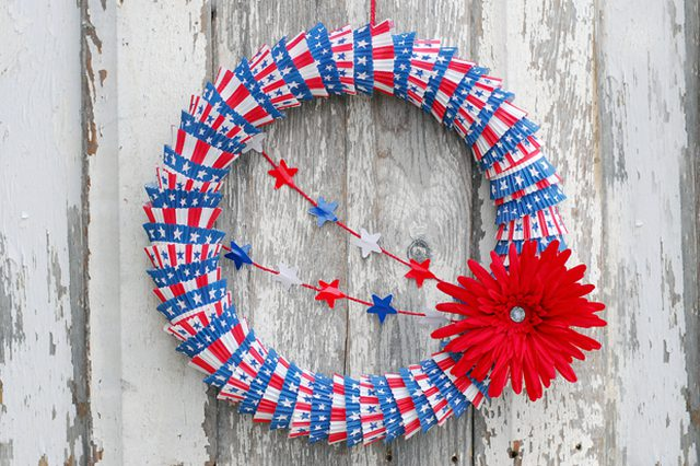 Patriotic Cupcake Liner Wreath