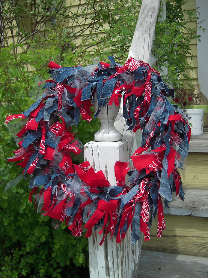 Patriotic Red-Bandana & Recycled Denim Wreath