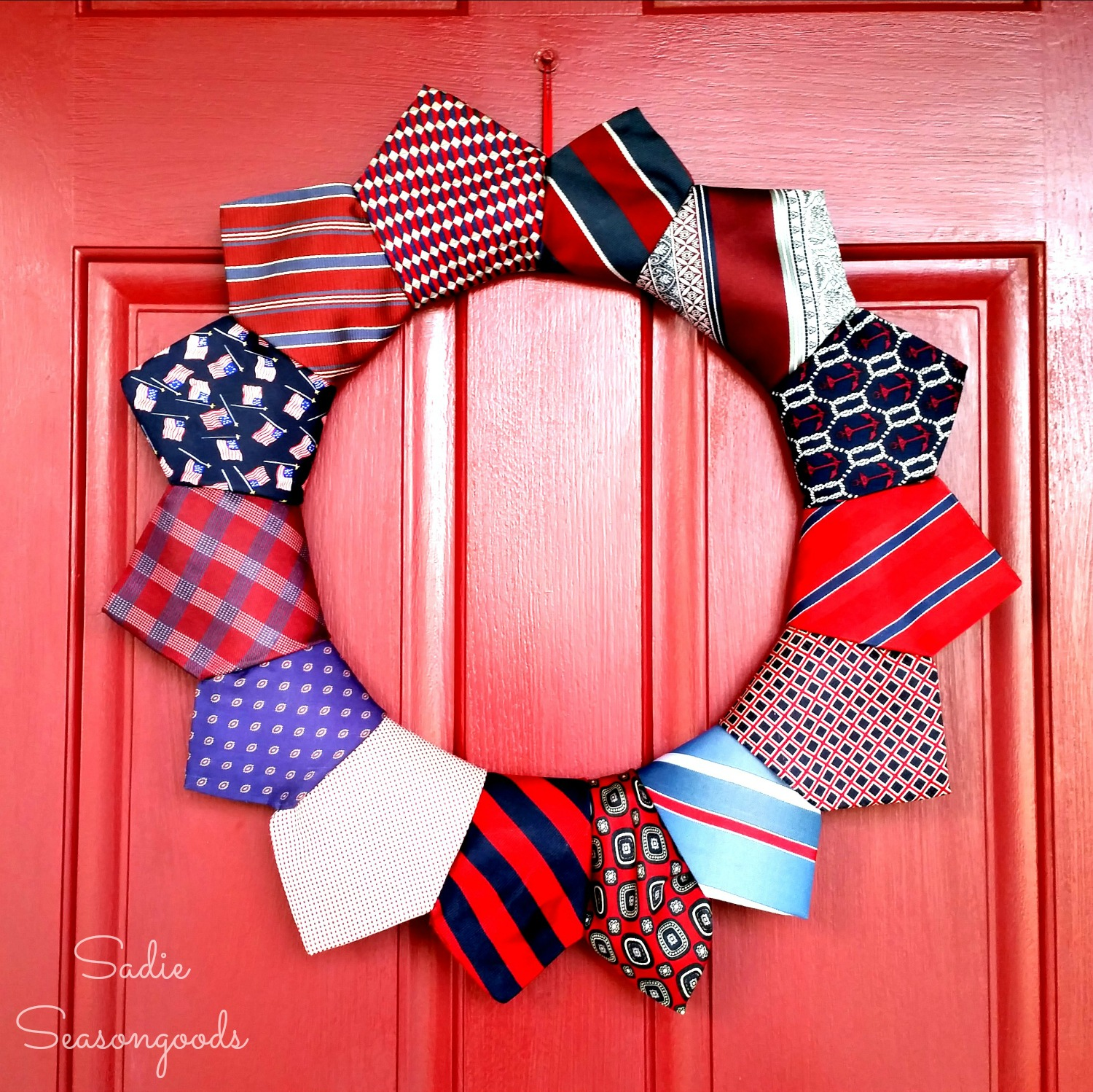 Repurposed Patriotic Necktie Wreath
