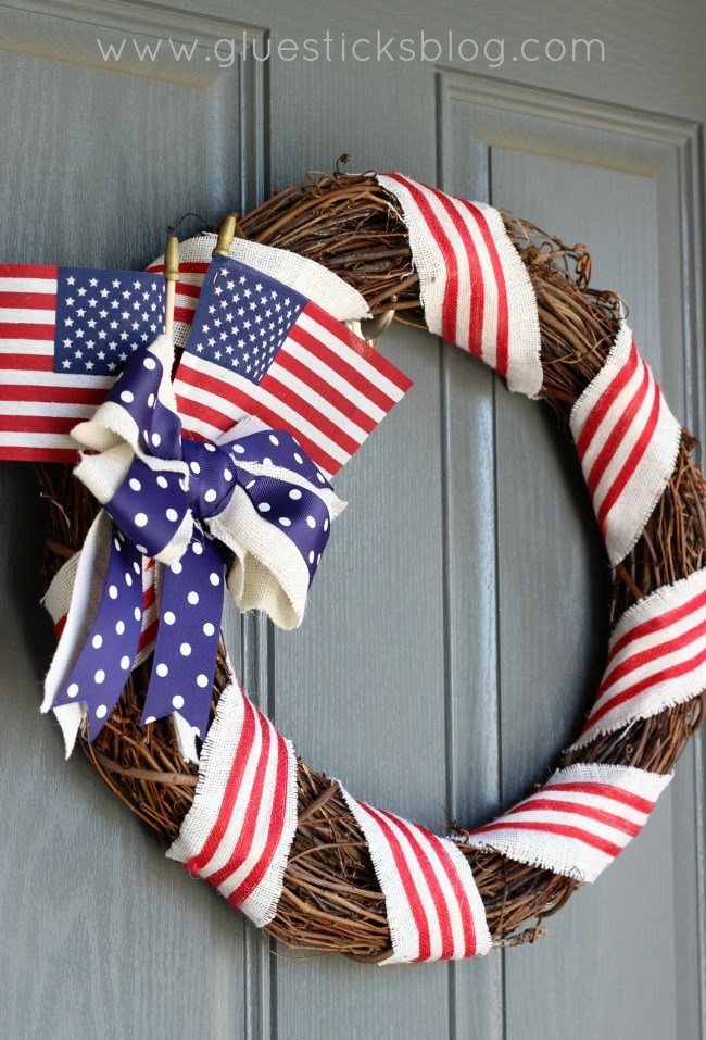 Simple grapevine and ribbon patriotic wreath