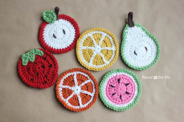 Colorful Crochet Fruit Coasters