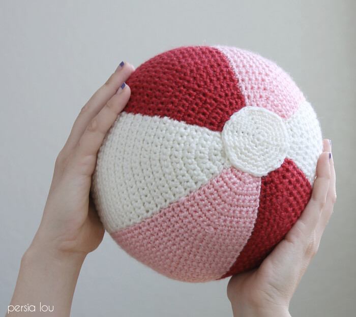 Crochet Beach Ball Pillow