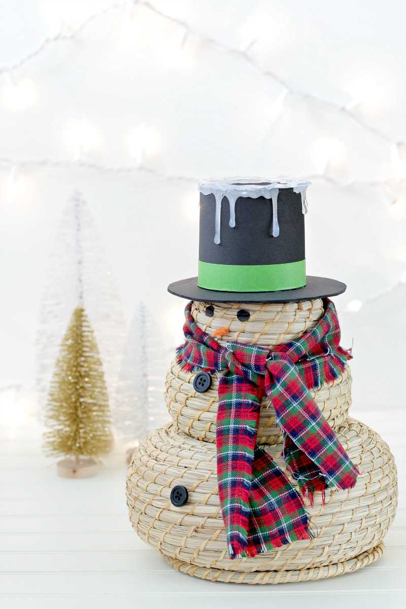 Adorable Snowman Craft Using Nesting Baskets