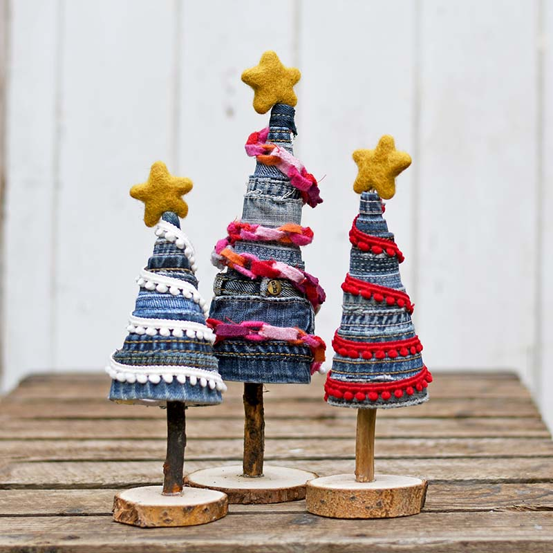 Christmas Trees out of Denim Scraps