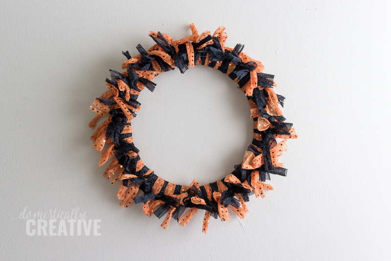 Halloween Fabric Scrap Wreath