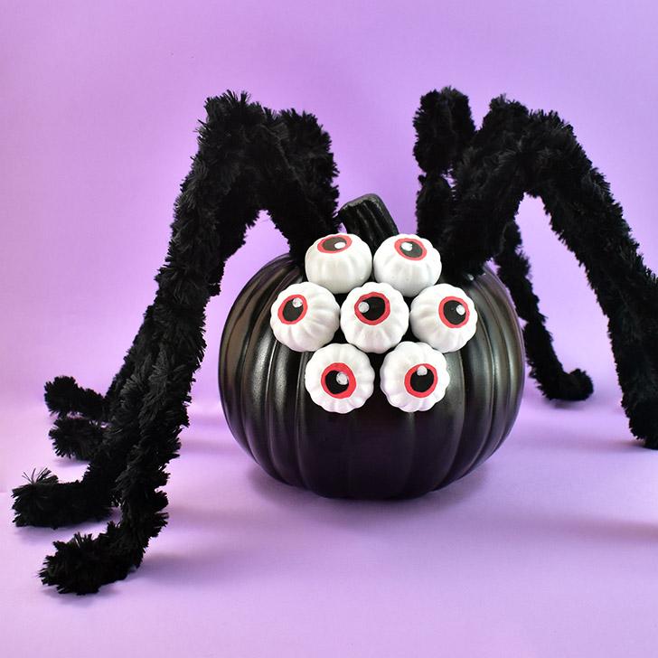 No Carve Spider Pumpkin
