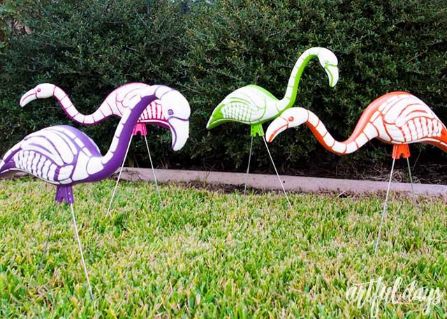 Rainbow Skeleton Flamingos