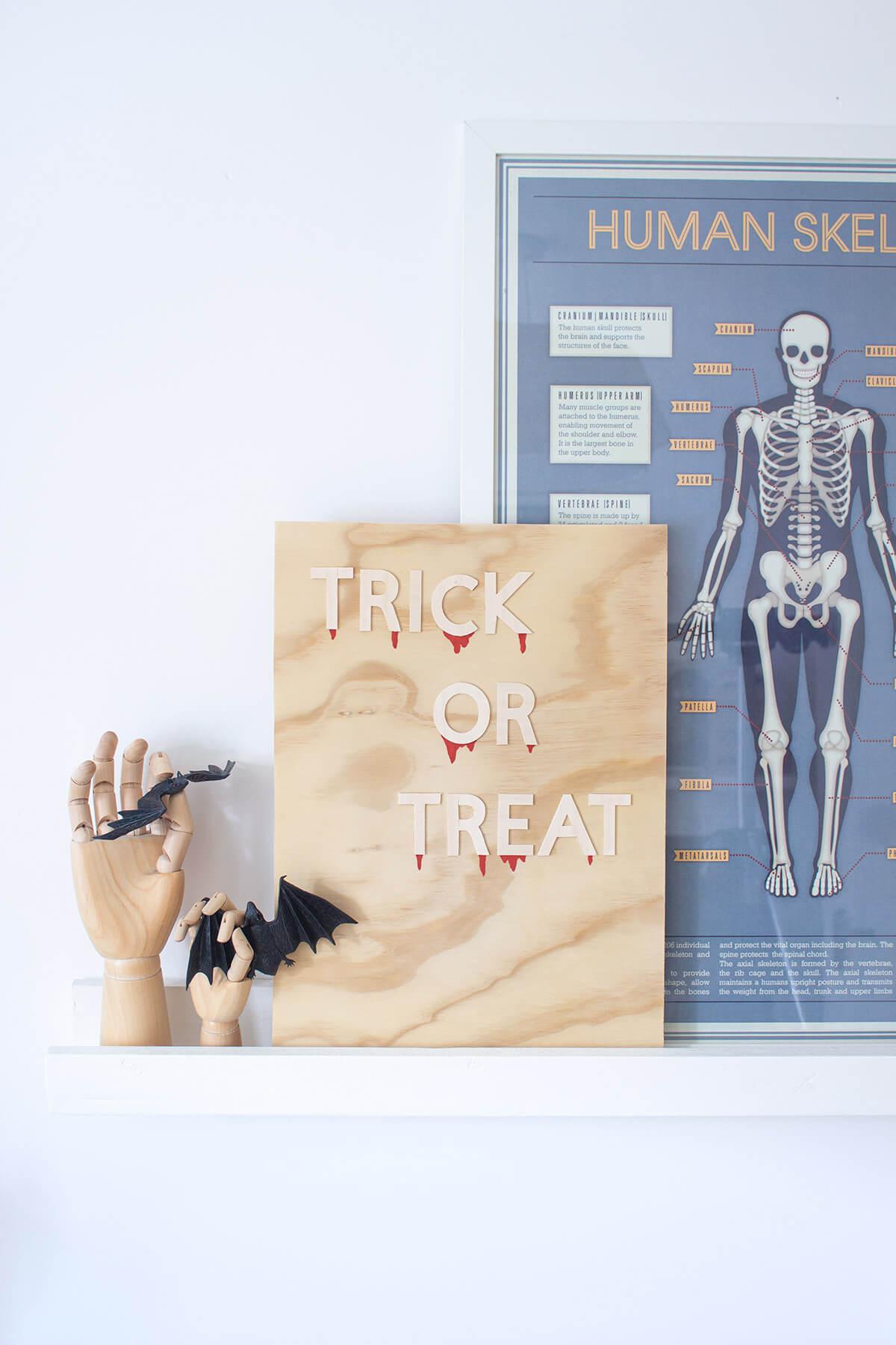 Trick or Treat wooden DIY Halloween decoration