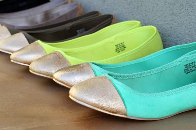 Gold-Tipped Ballet Flats