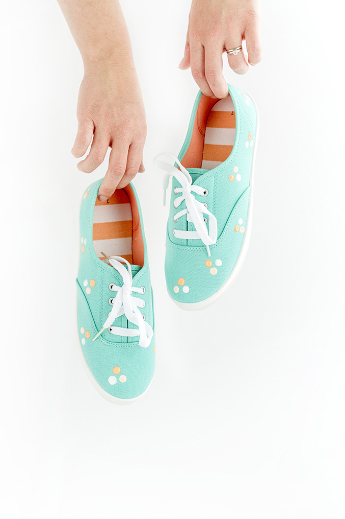 Painted Polka Dot Patterned Sneakers