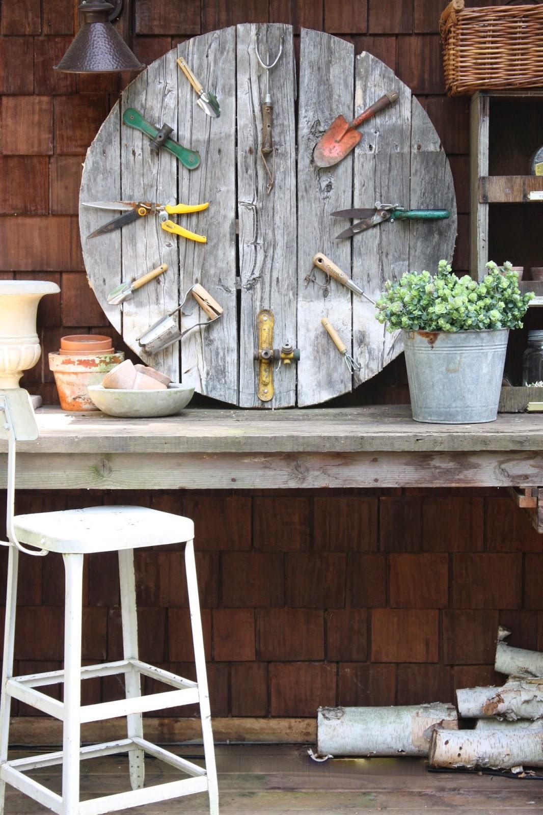 Gardening Tools Faux Clock